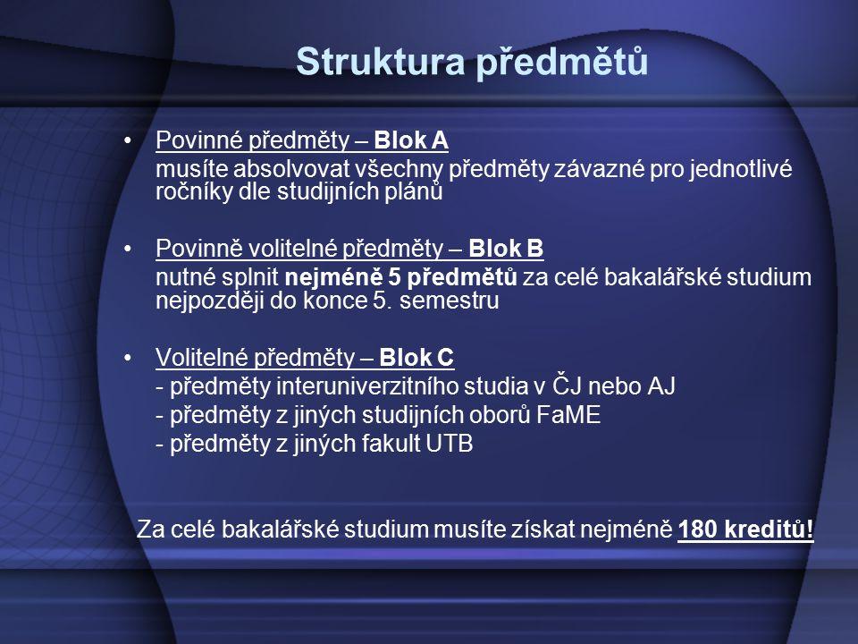 Struktura předmětů Povinné předměty – Blok A musíte absolvovat všechny předměty závazné pro jednotlivé ročníky dle studijních plánů Povinně volitelné