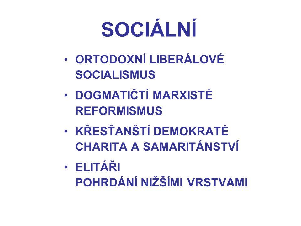 ORTODOXNÍ LIBERÁLOVÉ SOCIALISMUS DOGMATIČTÍ MARXISTÉ REFORMISMUS KŘESŤANŠTÍ DEMOKRATÉ CHARITA A SAMARITÁNSTVÍ ELITÁŘI POHRDÁNÍ NIŽŠÍMI VRSTVAMI