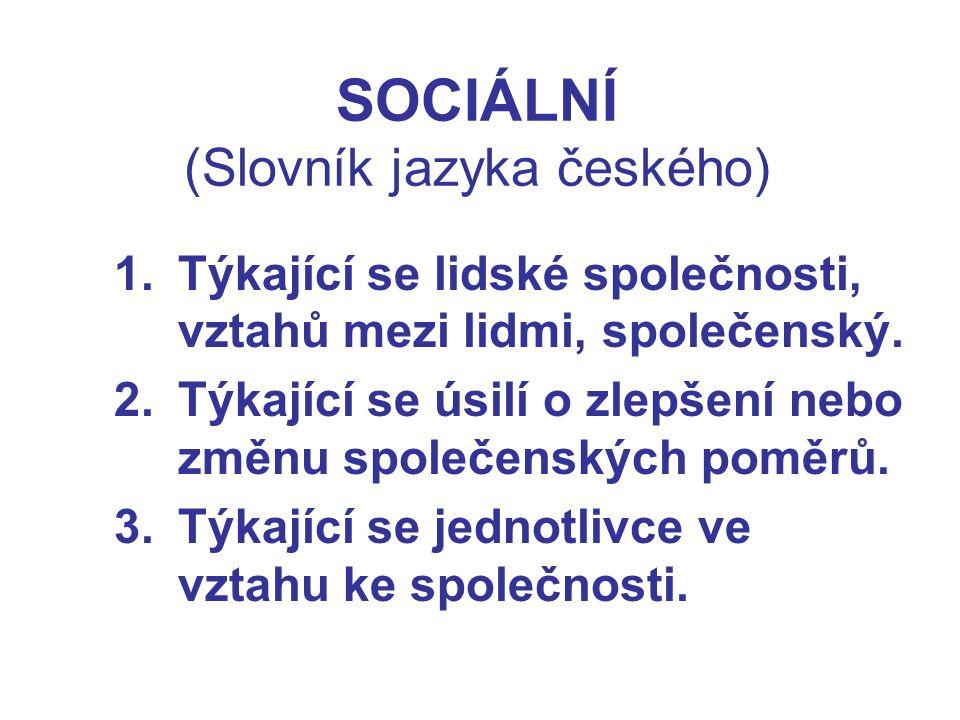 SOCIÁLNÍ (Slovník jazyka českého) 1.Týkající se lidské společnosti, vztahů mezi lidmi, společenský.