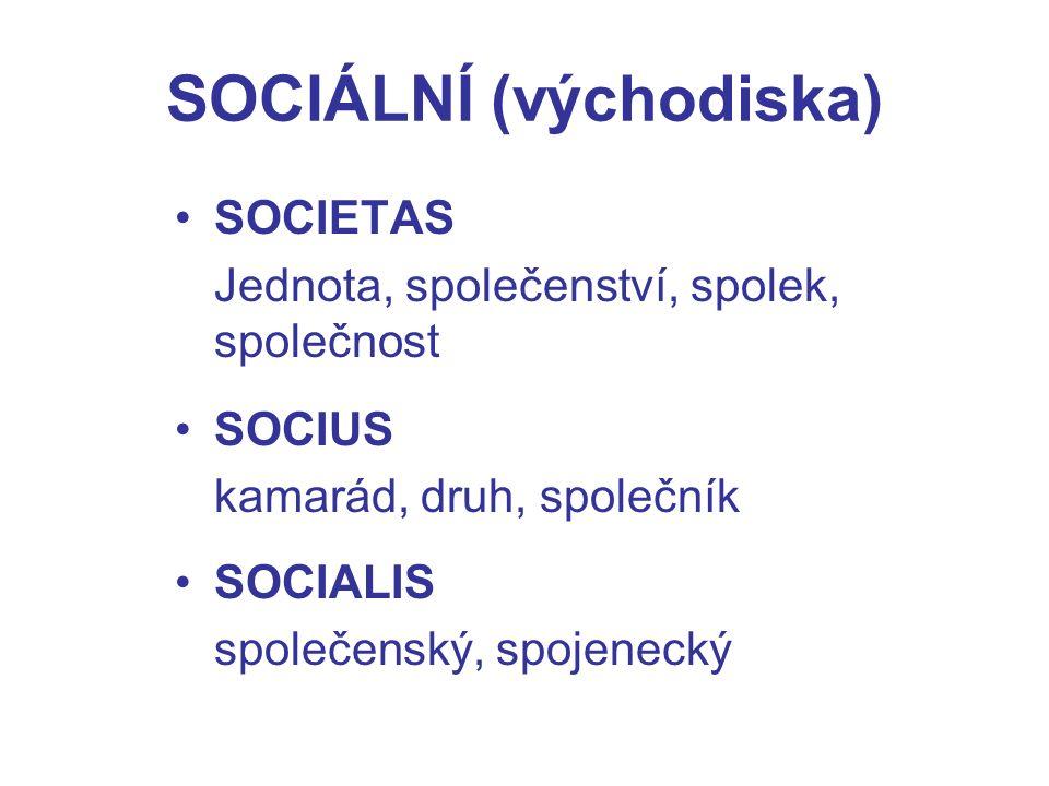 SOCIÁLNÍ (východiska) SOCIETAS Jednota, společenství, spolek, společnost SOCIUS kamarád, druh, společník SOCIALIS společenský, spojenecký