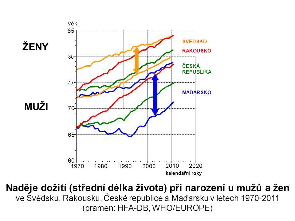 RAKOUSKO ČESKÁ REPUBLIKA 70 75 80 85 ŽENY věk kalendářní roky 60 65 1970 1980 1990 2000 20102020 ŠVÉDSKO MAĎARSKO MUŽI Naděje dožití (střední délka života) při narození u mužů a žen ve Švédsku, Rakousku, České republice a Maďarsku v letech 1970-2011 (pramen: HFA-DB, WHO/EUROPE)