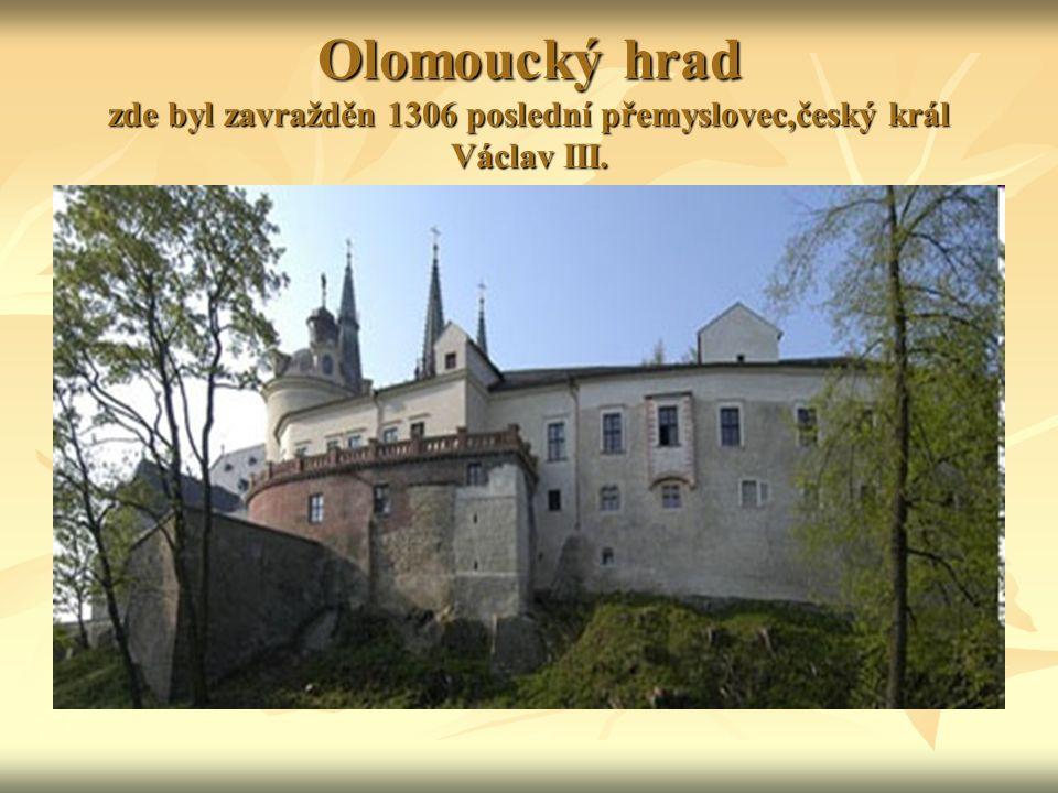 Olomoucký hrad zde byl zavražděn 1306 poslední přemyslovec,český král Václav III.