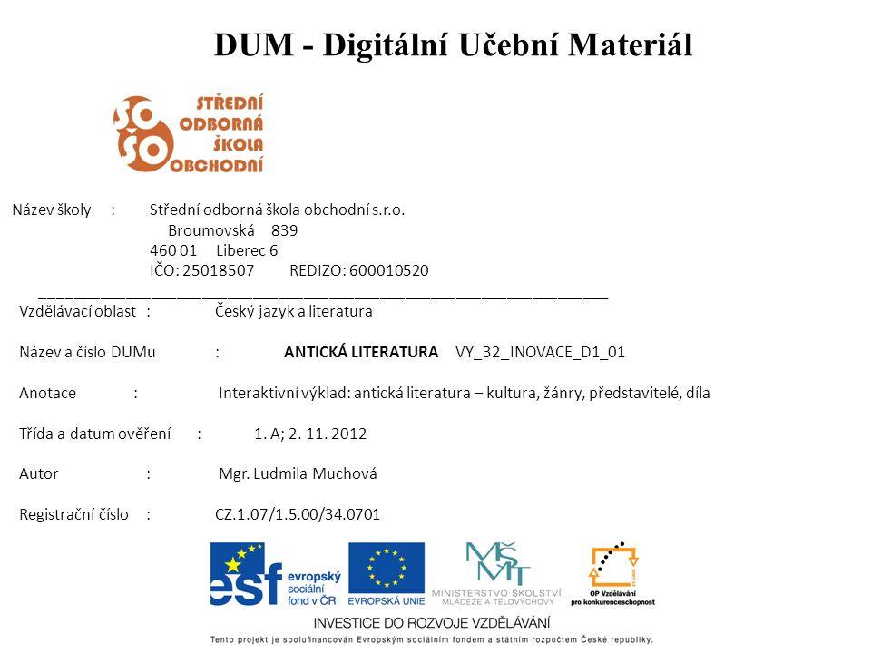DUM - Digitální Učební Materiál Název školy : Střední odborná škola obchodní s.r.o.