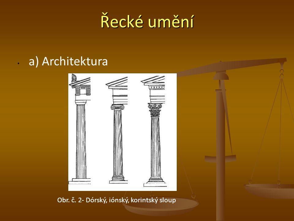 Řecké umění a) Architektura Obr. č. 2- Dórský, iónský, korintský sloup