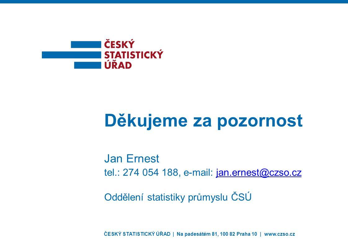ČESKÝ STATISTICKÝ ÚŘAD | Na padesátém 81, 100 82 Praha 10 | www.czso.cz Děkujeme za pozornost Jan Ernest tel.: 274 054 188, e-mail: jan.ernest@czso.cz