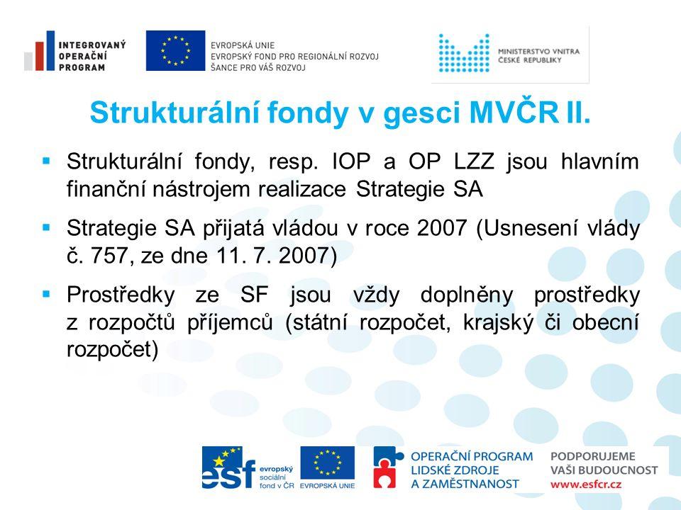 Strukturální fondy v gesci MVČR II.  Strukturální fondy, resp.