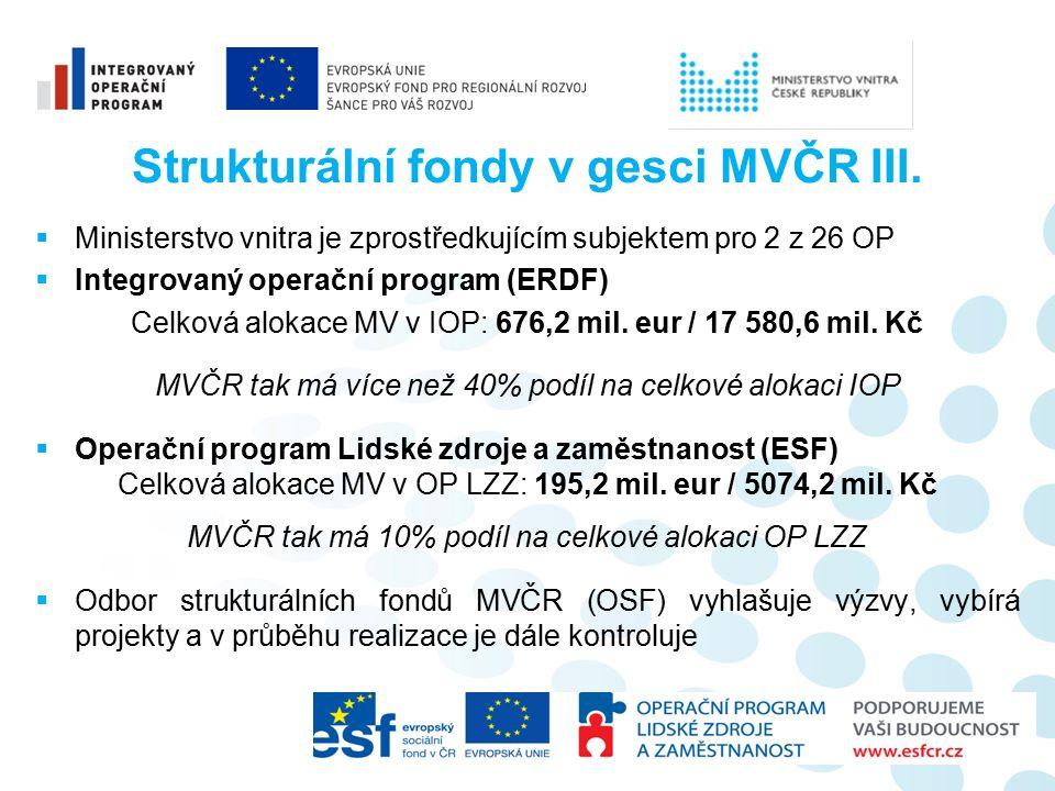 Strukturální fondy v gesci MVČR III.