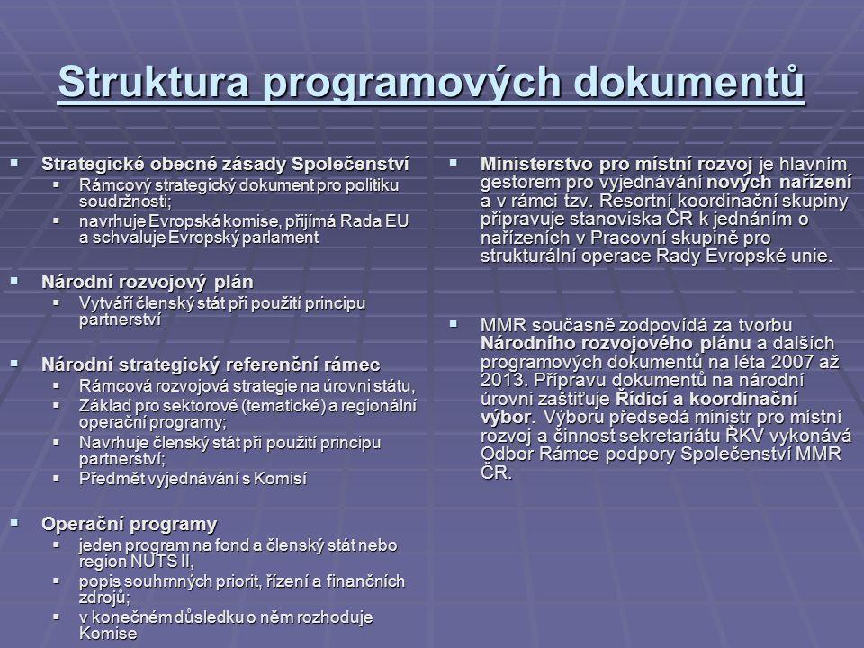 Struktura programových dokumentů  Strategické obecné zásady Společenství  Rámcový strategický dokument pro politiku soudržnosti;  navrhuje Evropská komise, přijímá Rada EU a schvaluje Evropský parlament  Národní rozvojový plán  Vytváří členský stát při použití principu partnerství  Národní strategický referenční rámec  Rámcová rozvojová strategie na úrovni státu,  Základ pro sektorové (tematické) a regionální operační programy;  Navrhuje členský stát při použití principu partnerství;  Předmět vyjednávání s Komisí  Operační programy  jeden program na fond a členský stát nebo region NUTS II,  popis souhrnných priorit, řízení a finančních zdrojů;  v konečném důsledku o něm rozhoduje Komise  Ministerstvo pro místní rozvoj je hlavním gestorem pro vyjednávání nových nařízení a v rámci tzv.