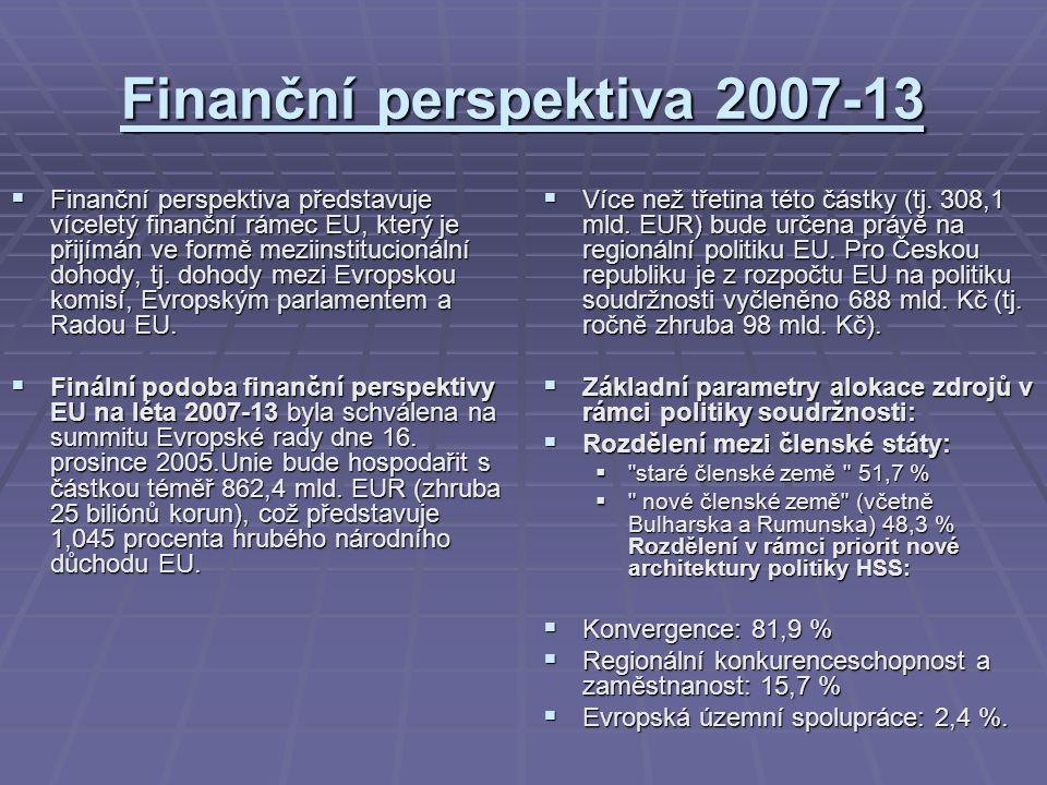 Finanční perspektiva 2007-13  Finanční perspektiva představuje víceletý finanční rámec EU, který je přijímán ve formě meziinstitucionální dohody, tj.