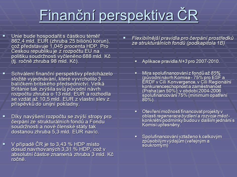 Finanční perspektiva ČR  Unie bude hospodařit s částkou téměř 862,4 mld. EUR (zhruba 25 biliónů korun), což představuje 1,045 procenta HDP. Pro Česko