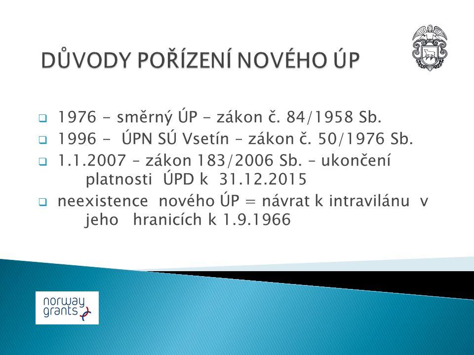  1976 - směrný ÚP - zákon č. 84/1958 Sb.  1996 - ÚPN SÚ Vsetín – zákon č.