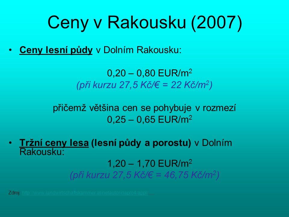 Ceny v Rakousku (2007) Ceny lesní půdy v Dolním Rakousku: 0,20 – 0,80 EUR/m 2 (při kurzu 27,5 Kč/€ = 22 Kč/m 2 ) přičemž většina cen se pohybuje v rozmezí 0,25 – 0,65 EUR/m 2 Tržní ceny lesa (lesní půdy a porostu) v Dolním Rakousku: 1,20 – 1,70 EUR/m 2 (při kurzu 27,5 Kč/€ = 46,75 Kč/m 2 ) Zdroj: http://www.landwirtschaftskammer.at/netautor/napro4/appl/......http://www.landwirtschaftskammer.at/netautor/napro4/appl/