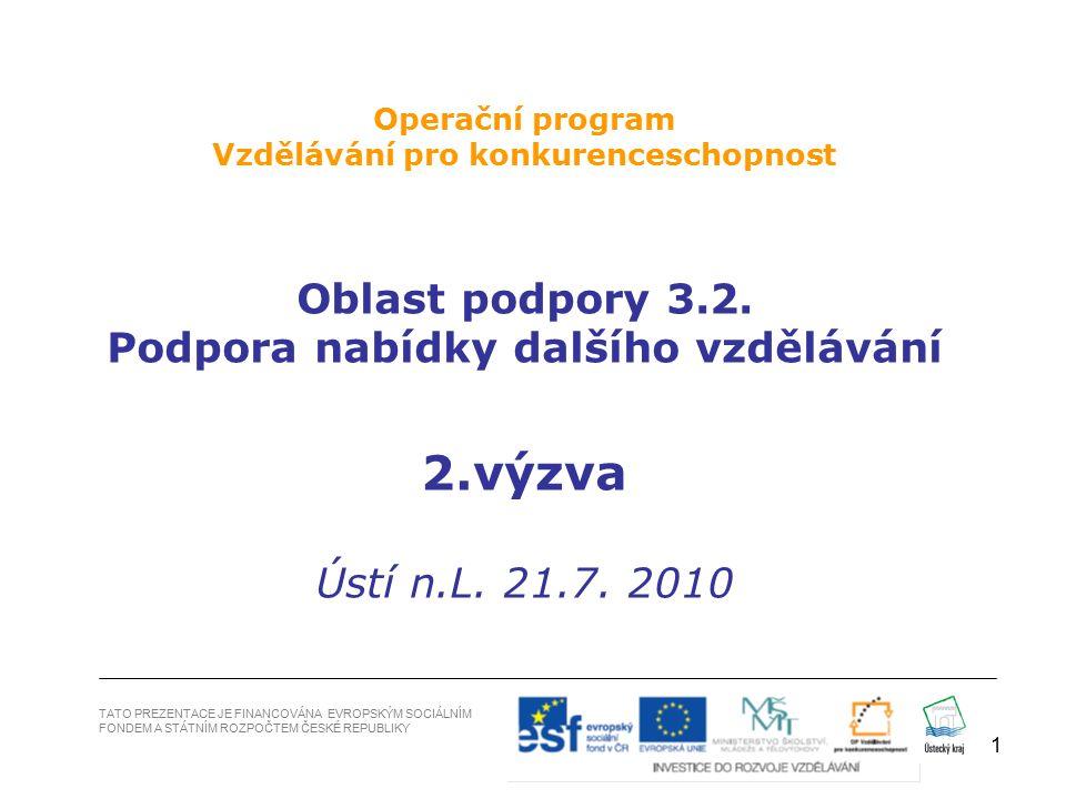 1 TATO PREZENTACE JE FINANCOVÁNA EVROPSKÝM SOCIÁLNÍM FONDEM A STÁTNÍM ROZPOČTEM ČESKÉ REPUBLIKY Operační program Vzdělávání pro konkurenceschopnost Oblast podpory 3.2.