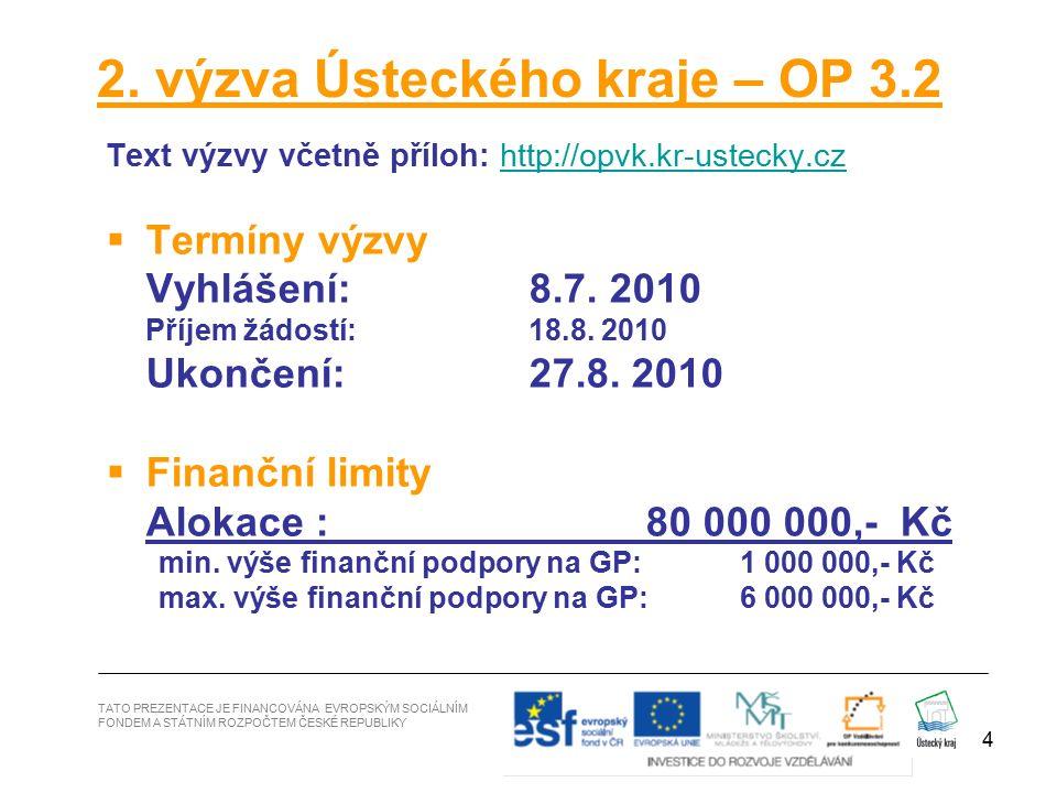 4 2. výzva Ústeckého kraje – OP 3.2 Text výzvy včetně příloh: http://opvk.kr-ustecky.czhttp://opvk.kr-ustecky.cz  Termíny výzvy Vyhlášení: 8.7. 2010