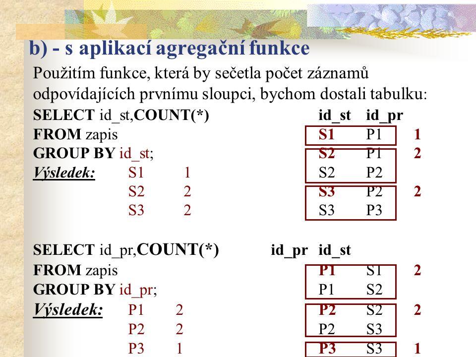 b) - s aplikací agregační funkce Použitím funkce, která by sečetla počet záznamů odpovídajících prvnímu sloupci, bychom dostali tabulku : SELECT id_st,COUNT(*) id_stid_pr FROM zapisS1P11 GROUP BY id_st; S2P12 Výsledek:S1 1S2P2 S2 2S3P22 S3 2S3P3 SELECT id_pr, COUNT(*) id_prid_st FROM zapisP1S12 GROUP BY id_pr;P1S2 Výsledek: P12P2S22 P22P2S3 P31P3S31