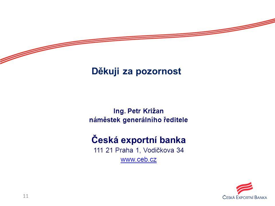 Ing. Petr Križan náměstek generálního ředitele Česká exportní banka 111 21 Praha 1, Vodičkova 34 www.ceb.cz Děkuji za pozornost 11