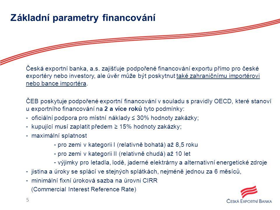 Základní parametry financování Česká exportní banka, a.s. zajišťuje podpořené financování exportu přímo pro české exportéry nebo investory, ale úvěr m