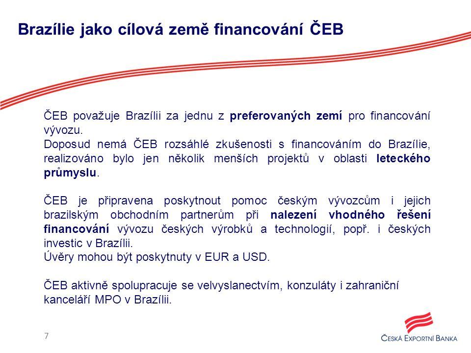 Nabídka produktů ČEB pro vývoz do Brazílie 8 Klient Produkt ČESKÝ EXPORTÉR Financování výroby pro export (předexportní úvěr) Dodavatelský exportní úvěr Záruky Odkup vývozních pohledávek ČESKÝ INVESTOR Financování investic v zahraničí BRAZILSKÝ IMPORTÉR Odběratelský exportní úvěr BANKA ČESKÉHO EXPORTÉRA Refinancování exportního dodavatelského úvěru BANKA BRAZILSKÉHO IMPORTÉRA Refinancování exportního odběratelského úvěru