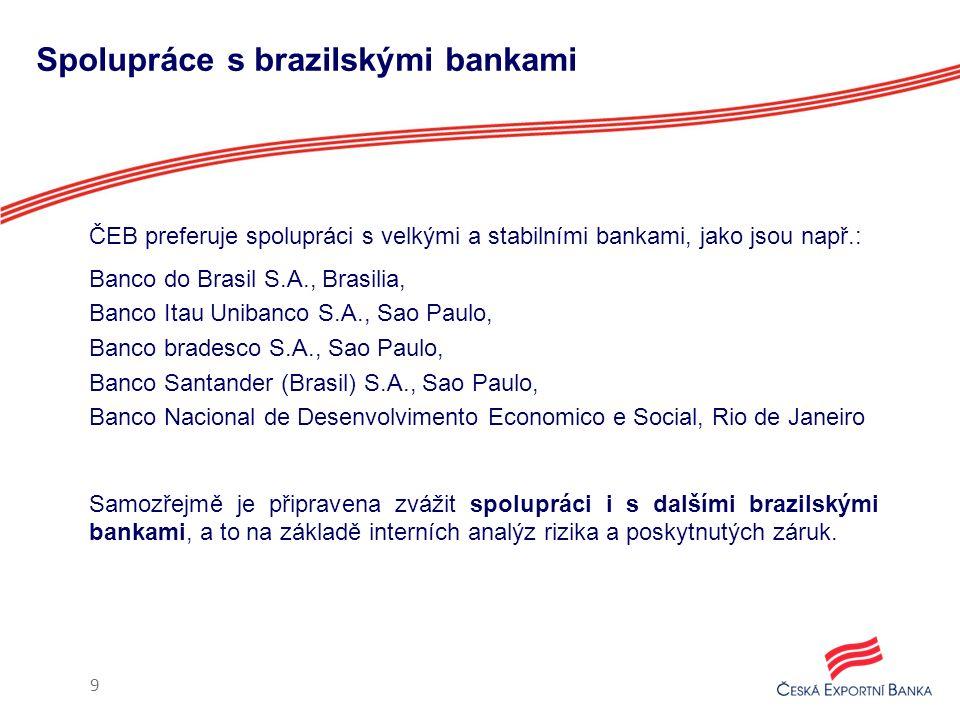 Spolupráce s brazilskými bankami ČEB preferuje spolupráci s velkými a stabilními bankami, jako jsou např.: Banco do Brasil S.A., Brasilia, Banco Itau Unibanco S.A., Sao Paulo, Banco bradesco S.A., Sao Paulo, Banco Santander (Brasil) S.A., Sao Paulo, Banco Nacional de Desenvolvimento Economico e Social, Rio de Janeiro Samozřejmě je připravena zvážit spolupráci i s dalšími brazilskými bankami, a to na základě interních analýz rizika a poskytnutých záruk.