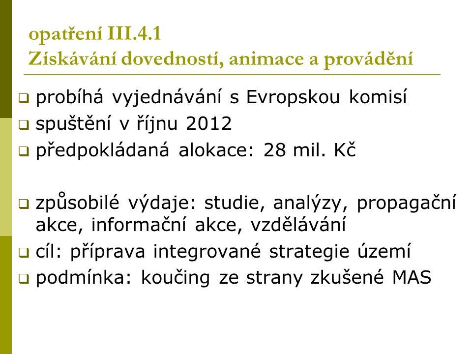 opatření III.4.1 Získávání dovedností, animace a provádění  probíhá vyjednávání s Evropskou komisí  spuštění v říjnu 2012  předpokládaná alokace: 28 mil.