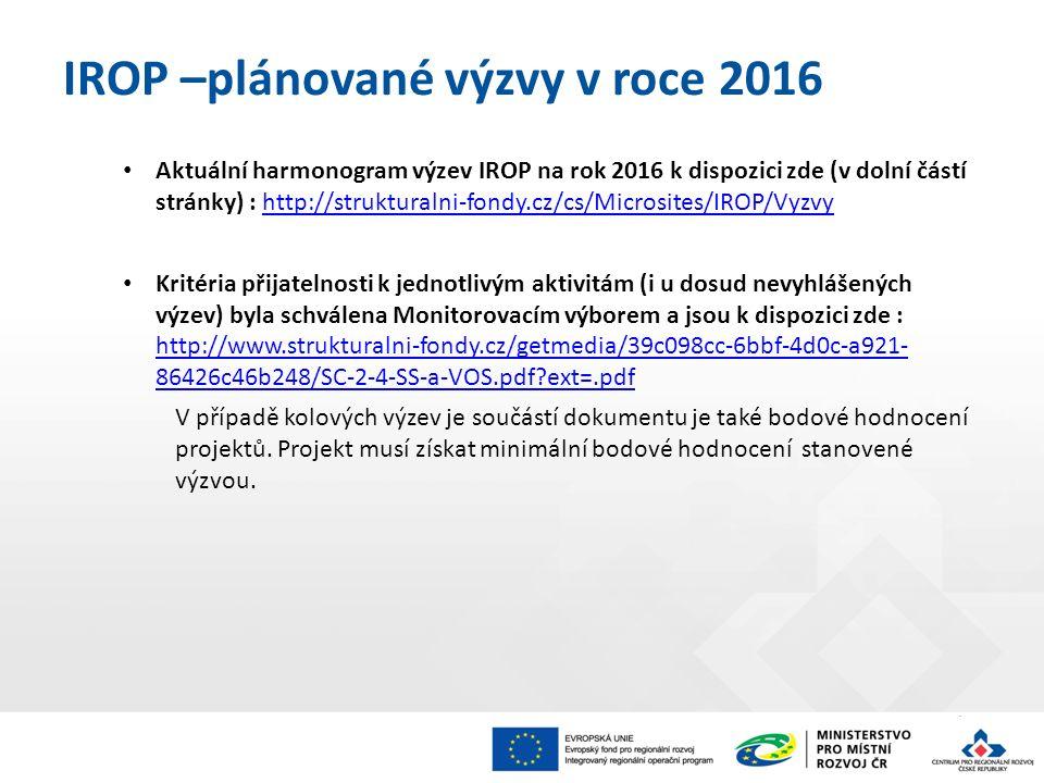 Aktuální harmonogram výzev IROP na rok 2016 k dispozici zde (v dolní částí stránky) : http://strukturalni-fondy.cz/cs/Microsites/IROP/Vyzvyhttp://strukturalni-fondy.cz/cs/Microsites/IROP/Vyzvy Kritéria přijatelnosti k jednotlivým aktivitám (i u dosud nevyhlášených výzev) byla schválena Monitorovacím výborem a jsou k dispozici zde : http://www.strukturalni-fondy.cz/getmedia/39c098cc-6bbf-4d0c-a921- 86426c46b248/SC-2-4-SS-a-VOS.pdf ext=.pdf http://www.strukturalni-fondy.cz/getmedia/39c098cc-6bbf-4d0c-a921- 86426c46b248/SC-2-4-SS-a-VOS.pdf ext=.pdf V případě kolových výzev je součástí dokumentu je také bodové hodnocení projektů.