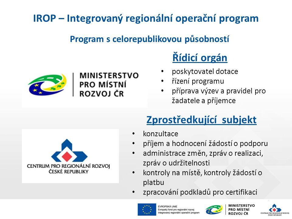Program s celorepublikovou působností Řídicí orgán poskytovatel dotace řízení programu příprava výzev a pravidel pro žadatele a příjemce Zprostředkující subjekt konzultace příjem a hodnocení žádostí o podporu administrace změn, zpráv o realizaci, zpráv o udržitelnosti kontroly na místě, kontroly žádostí o platbu zpracování podkladů pro certifikaci IROP – Integrovaný regionální operační program