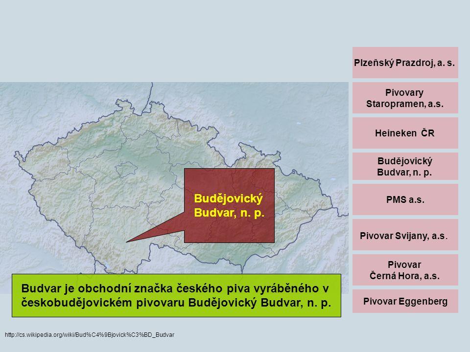 Plzeňský Prazdroj, a. s. Pivovary Staropramen, a.s. Heineken ČR Budějovický Budvar, n. p. PMS a.s. Pivovar Svijany, a.s. Pivovar Černá Hora, a.s. Pivo