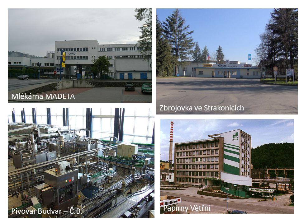 Mlékárna MADETA Zbrojovka ve Strakonicích Pivovar Budvar – Č.B. Papírny Větřní