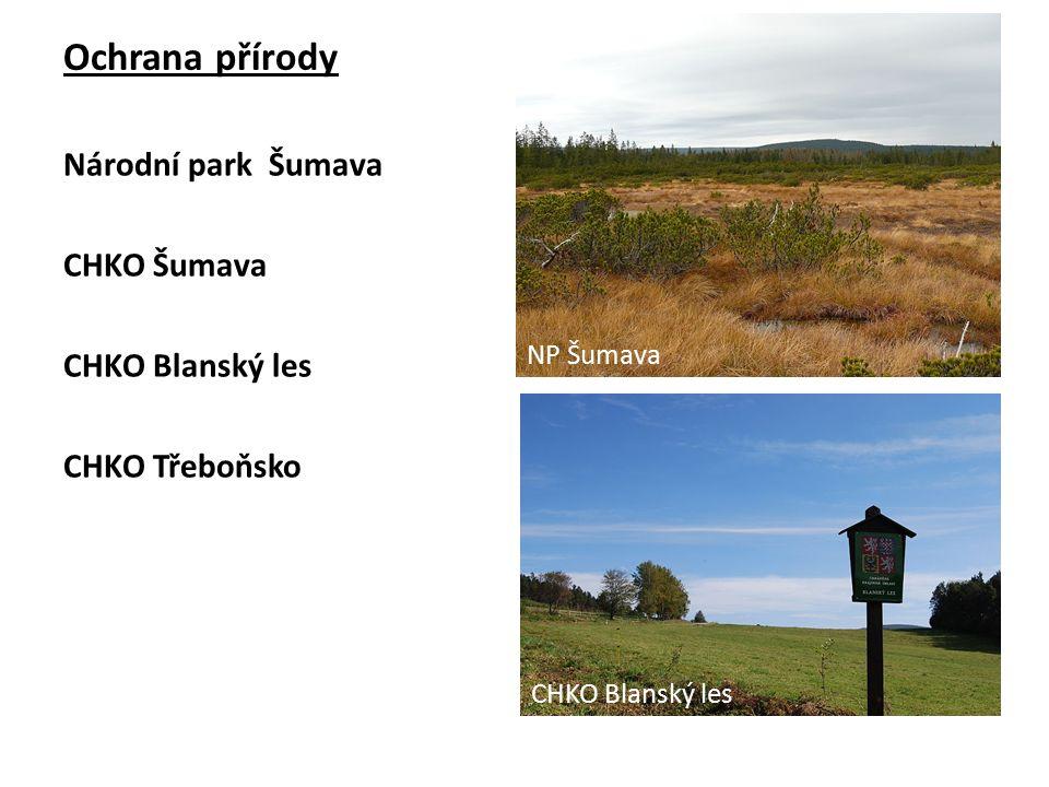 Ochrana přírody Národní park Šumava CHKO Šumava CHKO Blanský les CHKO Třeboňsko NP Šumava CHKO Blanský les