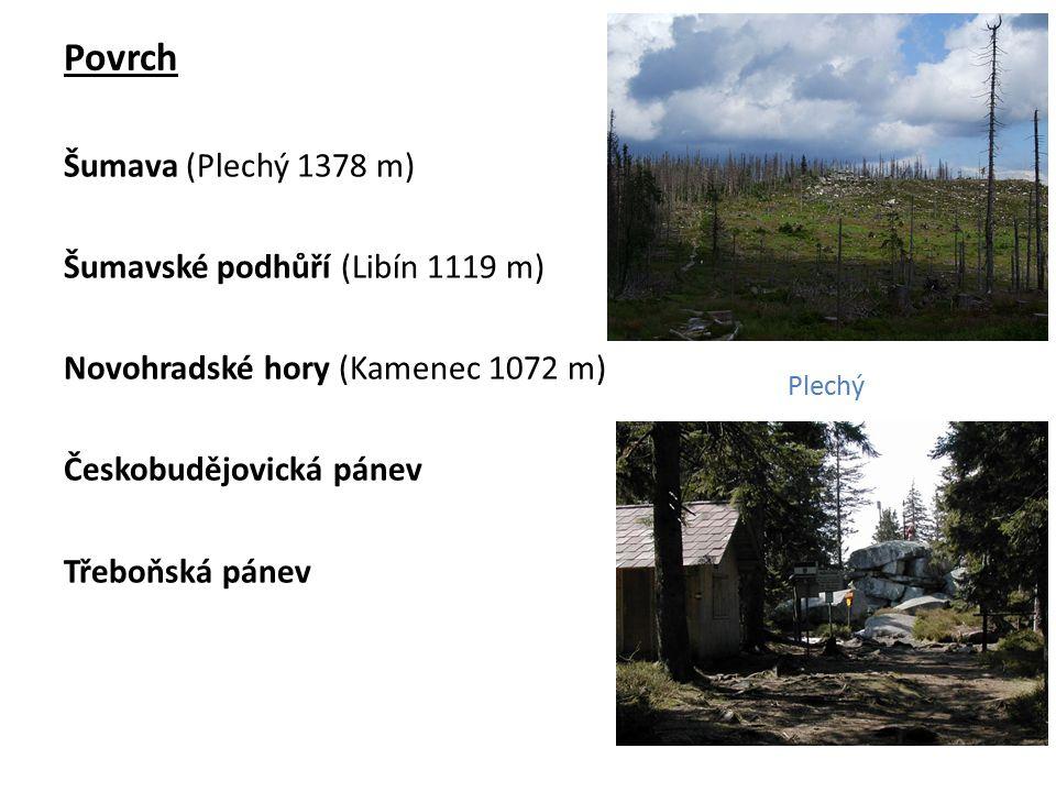 Povrch Šumava (Plechý 1378 m) Šumavské podhůří (Libín 1119 m) Novohradské hory (Kamenec 1072 m) Českobudějovická pánev Třeboňská pánev Plechý