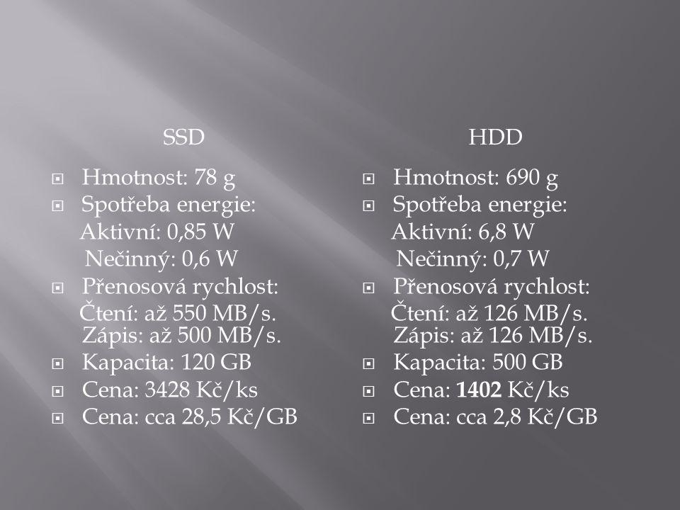 SSDHDD  Hmotnost: 78 g  Spotřeba energie: Aktivní: 0,85 W Nečinný: 0,6 W  Přenosová rychlost: Čtení: až 550 MB/s.