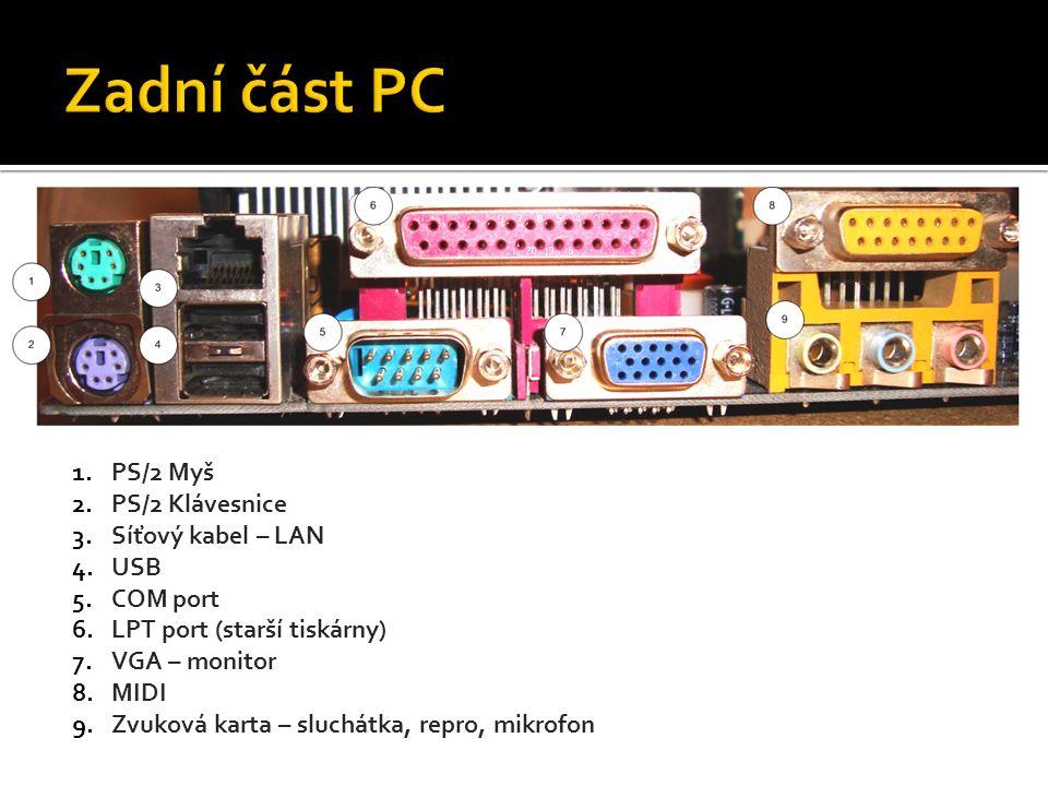 1.PS/2 Myš 2.PS/2 Klávesnice 3.Síťový kabel – LAN 4.USB 5.COM port 6.LPT port (starší tiskárny) 7.VGA – monitor 8.MIDI 9.Zvuková karta – sluchátka, repro, mikrofon