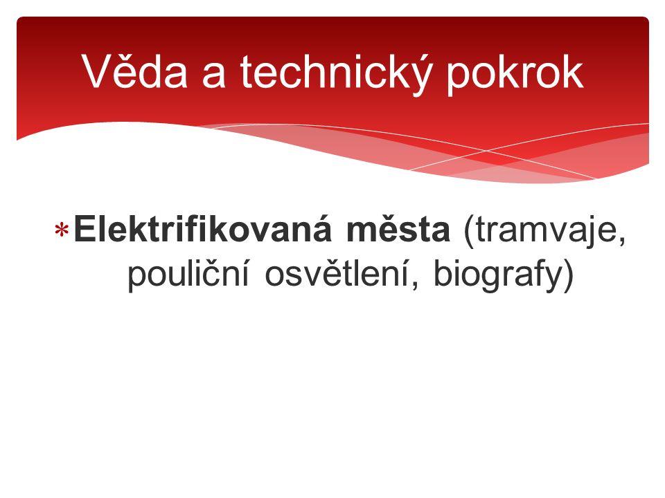  Elektrifikovaná města (tramvaje, pouliční osvětlení, biografy)  Domácnosti (rozhlasové přijímače, telefony, vysavače, pračky, ledničky) Věda a technický pokrok