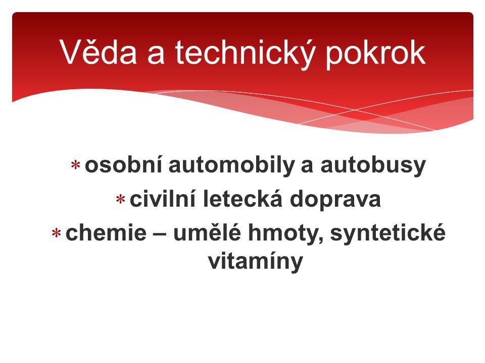  osobní automobily a autobusy  civilní letecká doprava  chemie – umělé hmoty, syntetické vitamíny  jaderná fyzika Věda a technický pokrok