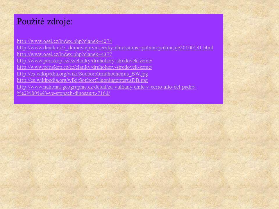 Použité zdroje: http://www.osel.cz/index.php?clanek=4274 http://www.denik.cz/z_domova/prvni-cesky-dinosaurus--patrani-pokracuje20100131.html http://ww