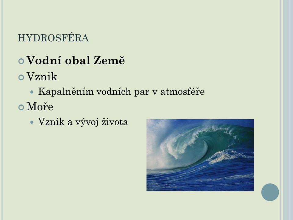 HYDROSFÉRA Vodní obal Země Vznik Kapalněním vodních par v atmosféře Moře Vznik a vývoj života