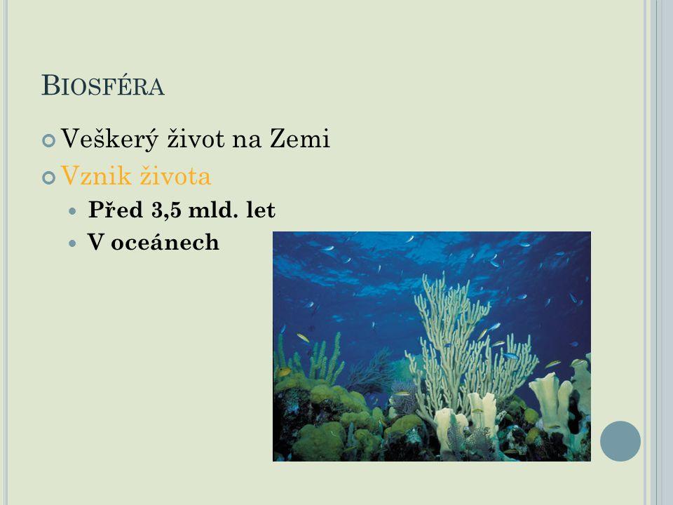 B IOSFÉRA Veškerý život na Zemi Vznik života Před 3,5 mld. let V oceánech