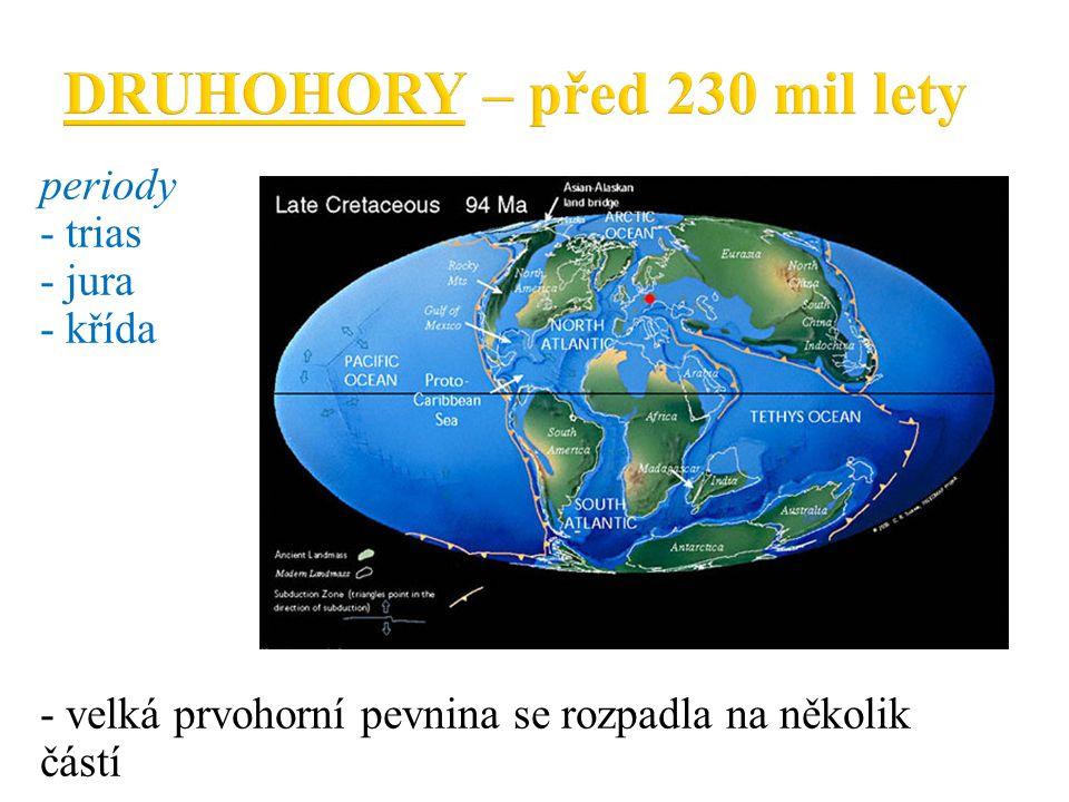 periody - trias - jura - křída - velká prvohorní pevnina se rozpadla na několik částí