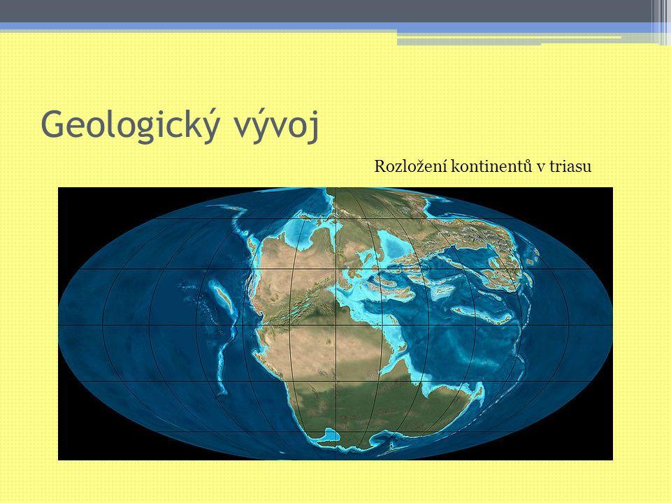 """Geologický vývoj Rozpadání superkontinentu Pangey Dělení souvislého oceánu na """"menší oceány Jura ▫Pangea rozpadlá na několik kontinentů Křída ▫Přiblížení rozpadlých kontinentů ▫Začátek alpinského vrásnění (pokračovalo ve třetihorách)"""
