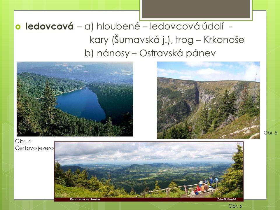  ledovcová – a) hloubené – ledovcová údolí - kary (Šumavská j.), trog – Krkonoše b) nánosy – Ostravská pánev Obr.
