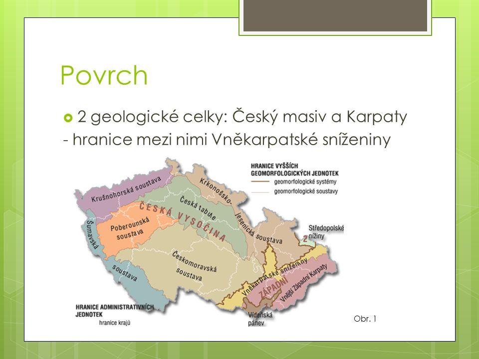 Český masiv  předprvohorní období – vznikly nejstarší části = Moldanubikum  prvohory - střídavě pevnina a moře - moře – vznik usazených hornin – Barrandien (vápence), Moravský kras - vrásnění – kaledonské a hercynské (vznik okrajových pohoří) - po hercynském vrásnění – eroze – ložiska černého uhlí