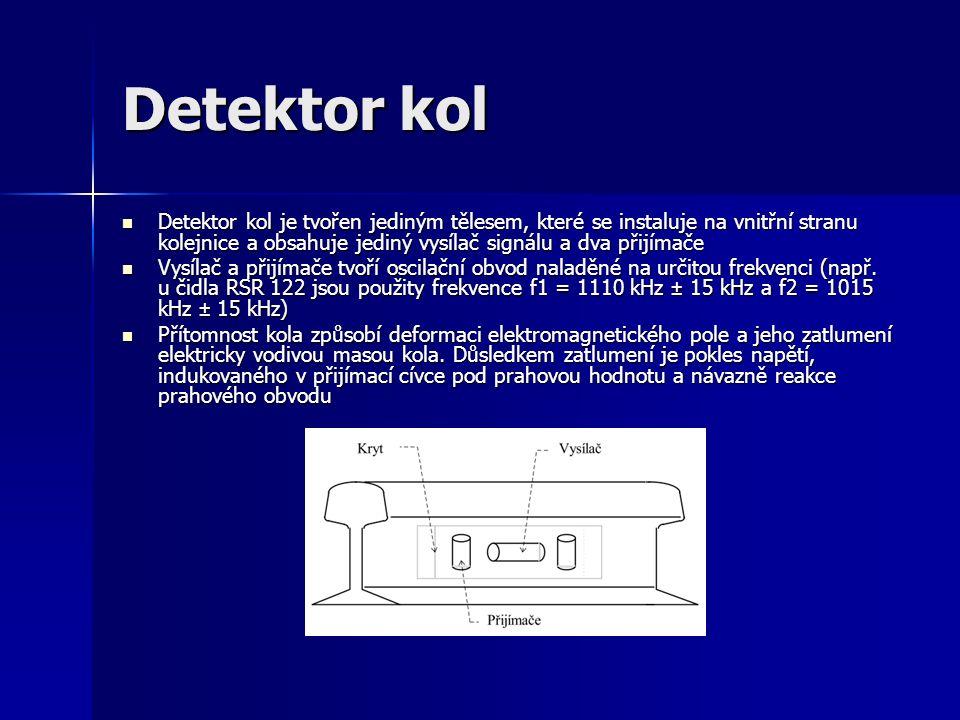 Detektor kol Detektor kol je tvořen jediným tělesem, které se instaluje na vnitřní stranu kolejnice a obsahuje jediný vysílač signálu a dva přijímače Detektor kol je tvořen jediným tělesem, které se instaluje na vnitřní stranu kolejnice a obsahuje jediný vysílač signálu a dva přijímače Vysílač a přijímače tvoří oscilační obvod naladěné na určitou frekvenci (např.