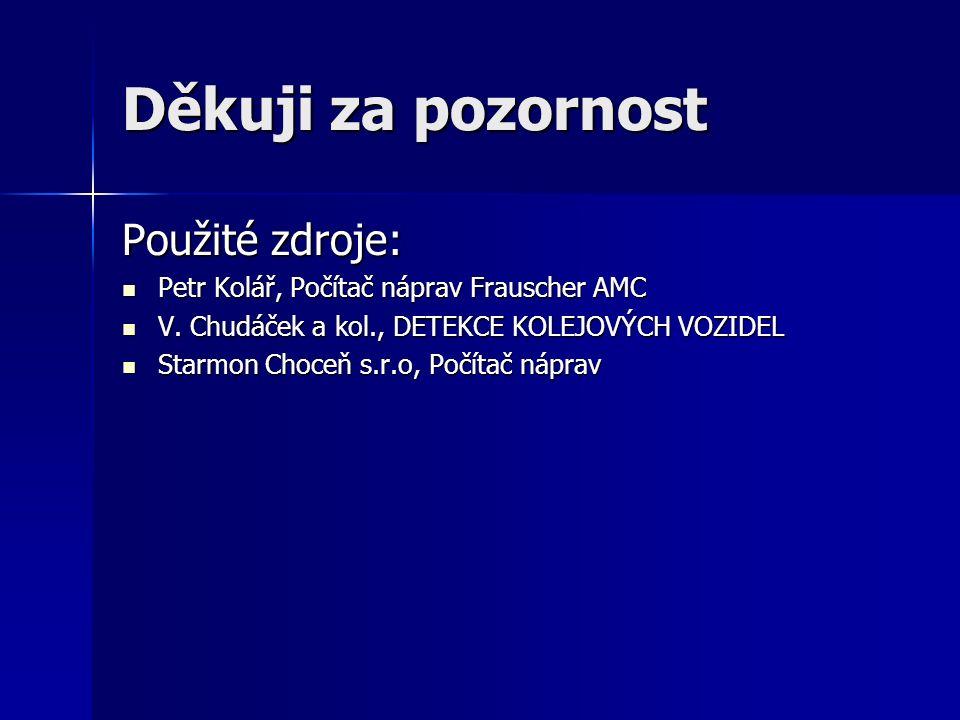 Děkuji za pozornost Použité zdroje: Petr Kolář, Počítač náprav Frauscher AMC Petr Kolář, Počítač náprav Frauscher AMC V. Chudáček a kol., DETEKCE KOLE