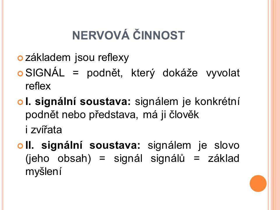 NERVOVÁ ČINNOST základem jsou reflexy SIGNÁL = podnět, který dokáže vyvolat reflex I. signální soustava: signálem je konkrétní podnět nebo představa,