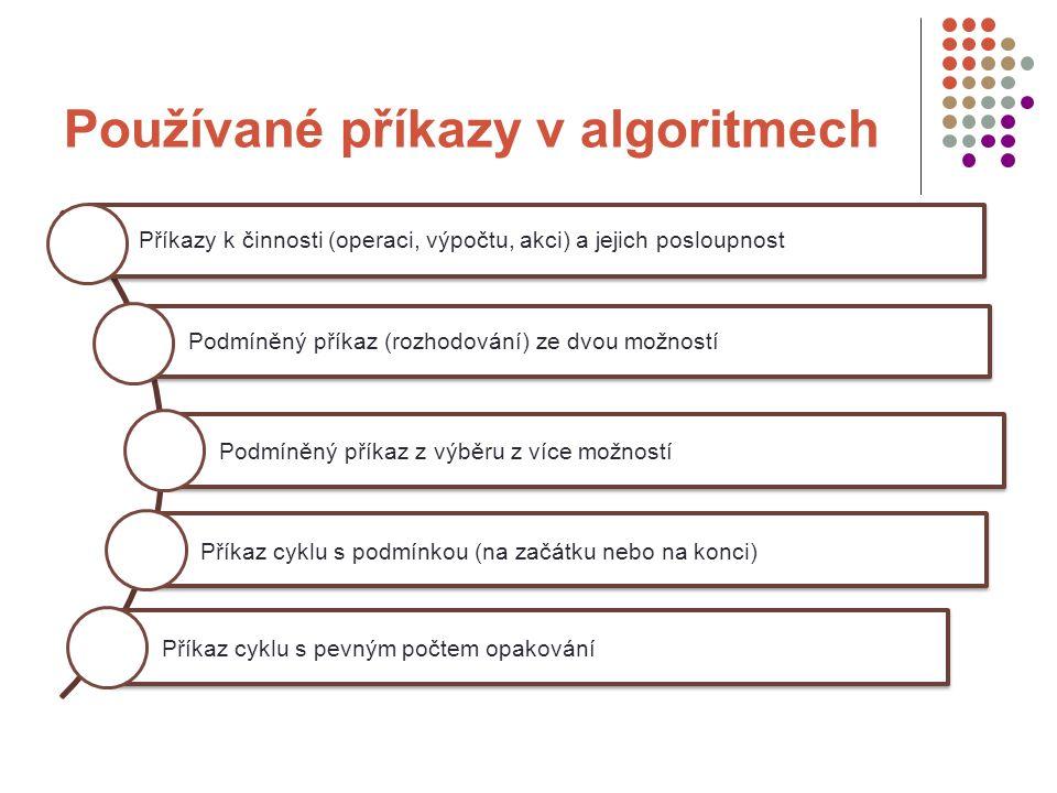 Používané příkazy v algoritmech Příkazy k činnosti (operaci, výpočtu, akci) a jejich posloupnost Podmíněný příkaz (rozhodování) ze dvou možností Podmí