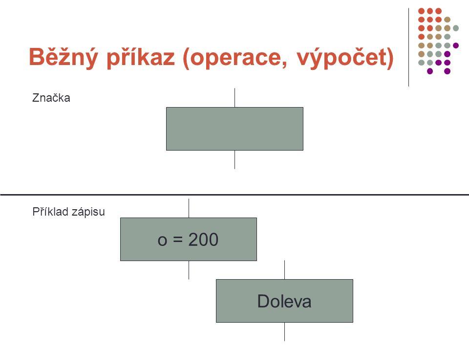 Běžný příkaz (operace, výpočet) Značka Příklad zápisu o = 200 Doleva
