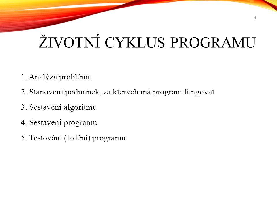 ŽIVOTNÍ CYKLUS PROGRAMU 1. Analýza problému 2. Stanovení podmínek, za kterých má program fungovat 3. Sestavení algoritmu 4. Sestavení programu 5. Test