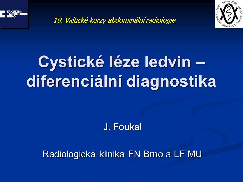 Cystické léze ledvin – diferenciální diagnostika J. Foukal Radiologická klinika FN Brno a LF MU 10. Valtické kurzy abdominální radiologie
