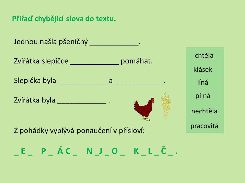 Přiřaď chybějící slova do textu. Jednou našla pšeničný ____________.