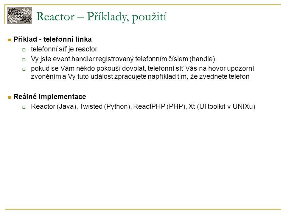 Příklad - telefonní linka  telefonní síť je reactor.